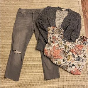 DL1961 Grey ripped jean , GAP sweater, top